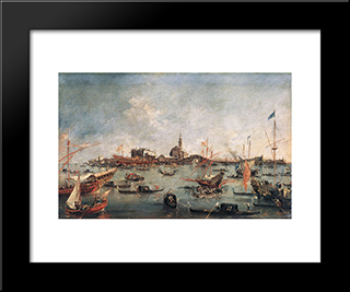 The Doge On The Bucentaur At San Niccol Del Lido: Modern Black Framed Art Print by Francesco Guardi