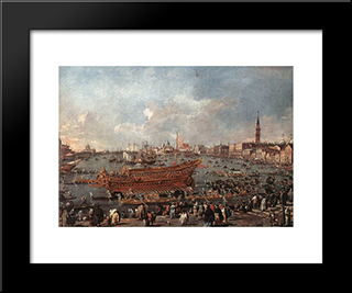 The Doge On The Bucintoro Near The Riva Di Sant'Elena: Modern Black Framed Art Print by Francesco Guardi