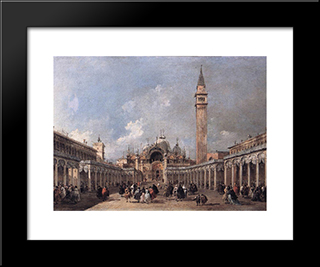 The Feast Of The Ascension: Modern Black Framed Art Print by Francesco Guardi