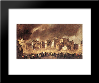 The Fire At San Marcuola: Modern Black Framed Art Print by Francesco Guardi