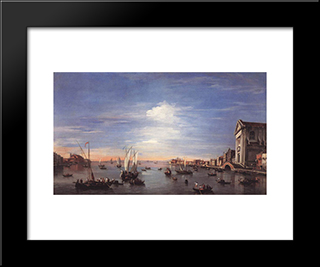 The Giudecca Canal With The Zattere: Modern Black Framed Art Print by Francesco Guardi