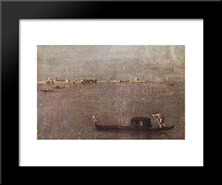 The Gondola On The Lagoon: Modern Black Framed Art Print by Francesco Guardi