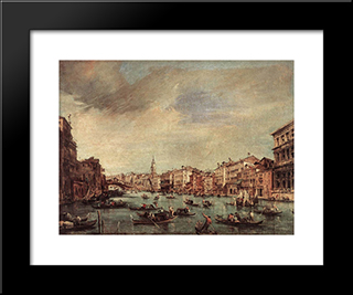 The Grand Canal, Looking Toward The Rialto Bridge: Modern Black Framed Art Print by Francesco Guardi