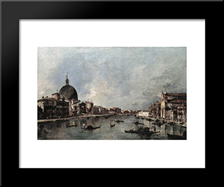 The Grand Canal With San Simeone Piccolo And Santa Lucia: Modern Black Framed Art Print by Francesco Guardi