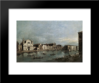 The Grand Canal With Santa Lucia And The Scalzi: Modern Black Framed Art Print by Francesco Guardi