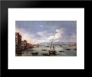 The Lagoon From The Fondamenta Nuove: Modern Black Framed Art Print by Francesco Guardi