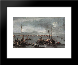 The Lagoon Looking Toward Murano From The Fondamenta Nuove: Modern Black Framed Art Print by Francesco Guardi