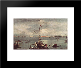 The Lagoon With Boats, Gondolas, And Rafts: Modern Black Framed Art Print by Francesco Guardi