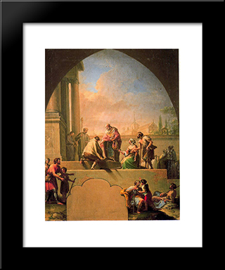 Charity Of Saint Elladius Of Toledo: Modern Black Framed Art Print by Francisco Bayeu y Subias