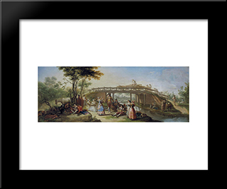 El Puente Del Canal De Madrid: Modern Black Framed Art Print by Francisco Bayeu y Subias