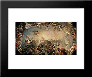 Olympus The Fall Of The Giants: Modern Black Framed Art Print by Francisco Bayeu y Subias