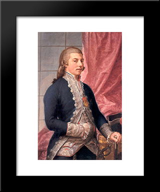 Portrait Of Manuel Godoy: Modern Black Framed Art Print by Francisco Bayeu y Subias