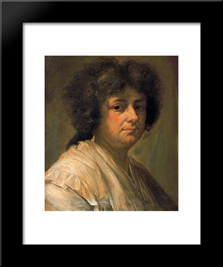Retrato De Sebastiana Merclein, Su Mujer: Modern Black Framed Art Print by Francisco Bayeu y Subias