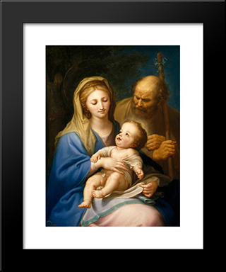 The Holy Family: Modern Black Framed Art Print by Francisco Bayeu y Subias
