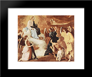 Flagellation Of St. Jerome By The Angels: Modern Black Framed Art Print by Francisco de Zurbaran