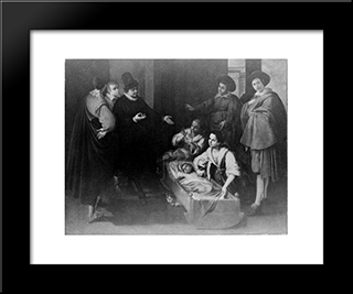 Scene From The Life Of Saint Pierre Theophile: Modern Black Framed Art Print by Francisco de Zurbaran