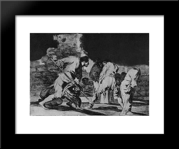 Disparate Furioso: Modern Black Framed Art Print by Francisco Goya