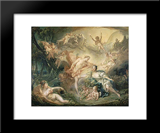 Apollo Revealing His Divinity To The Shepherdess Isse: Modern Black Framed Art Print by Francois Boucher