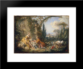 Charms Of Country Life: Modern Black Framed Art Print by Francois Boucher