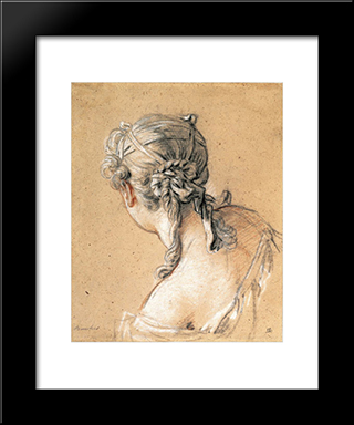 Head Of A Woman From Behind: Modern Black Framed Art Print by Francois Boucher