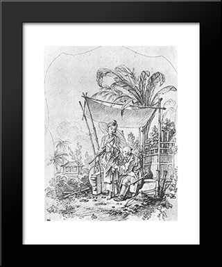 Lady With An Umbrella: Modern Black Framed Art Print by Francois Boucher