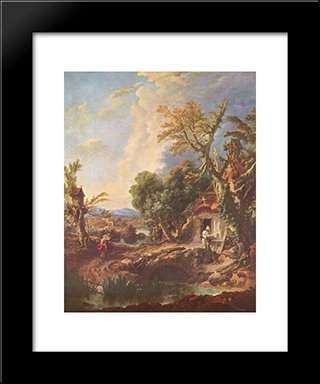 Landscape With The Brother Lucas: Custom Black Wood Framed Art Print by Francois Boucher