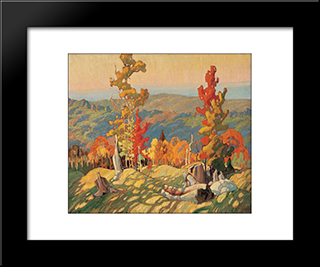 Autumn In The Northland: Modern Black Framed Art Print by Franklin Carmichael