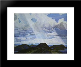 Snow Flurries, North Shore Of Lake Superior: Modern Black Framed Art Print by Franklin Carmichael