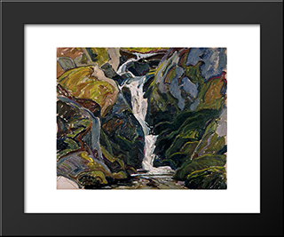 Waterfalls On The Way Into Nellie Lake: Modern Black Framed Art Print by Franklin Carmichael