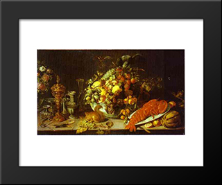A Banquet Piece: Modern Black Framed Art Print by Frans Snyders