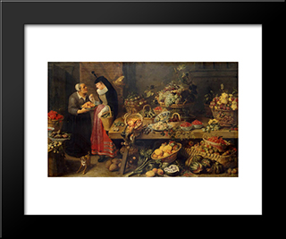 A Fruit Stall: Modern Black Framed Art Print by Frans Snyders