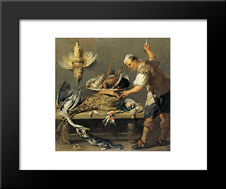 Cook In The Larder: Modern Black Framed Art Print by Frans Snyders