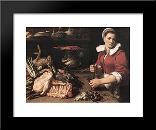 Cook With Food: Modern Black Framed Art Print by Frans Snyders