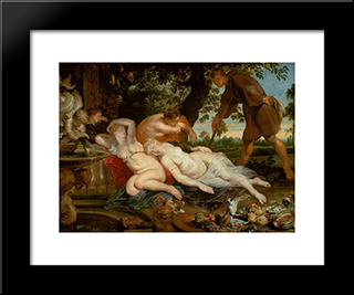 Cymon And Iphigenia: Modern Black Framed Art Print by Frans Snyders