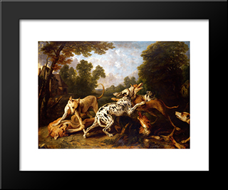 Dogs Fighting: Modern Black Framed Art Print by Frans Snyders