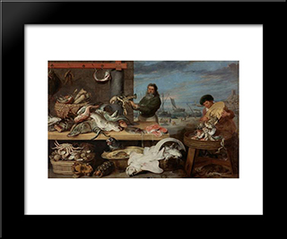 Fish Market: Modern Black Framed Art Print by Frans Snyders