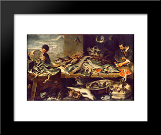 Fish Shop: Modern Black Framed Art Print by Frans Snyders