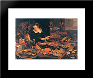 Fish-Shop: Modern Black Framed Art Print by Frans Snyders