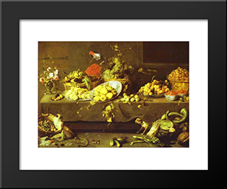 Flowers, Fruits And Vegetables: Modern Black Framed Art Print by Frans Snyders