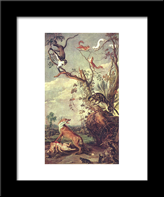 Fox And Cat: Modern Black Framed Art Print by Frans Snyders