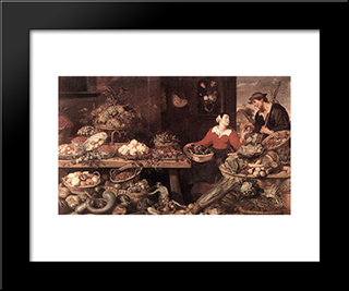 Fruit And Vegetable Market: Modern Black Framed Art Print by Frans Snyders