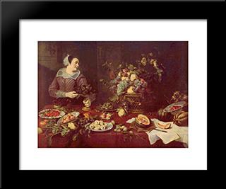 Fruit Seller: Modern Black Framed Art Print by Frans Snyders