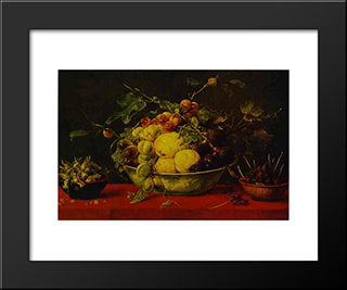 Fruits In A Bowl On A Red Tablecloth: Modern Black Framed Art Print by Frans Snyders