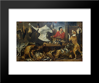 Game Stall: Modern Black Framed Art Print by Frans Snyders