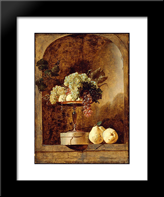 Grapes, Peaches And Quinces In A Niche: Modern Black Framed Art Print by Frans Snyders