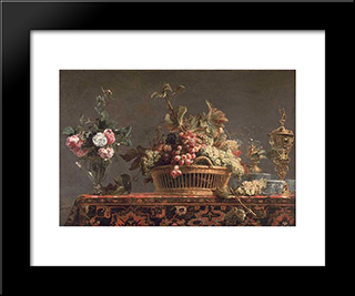 Grapes In A Basket And Roses In A Vase: Modern Black Framed Art Print by Frans Snyders