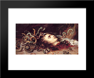Head Of Medusa: Modern Black Framed Art Print by Frans Snyders