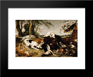 Hounds Bringing Down A Boar: Modern Black Framed Art Print by Frans Snyders