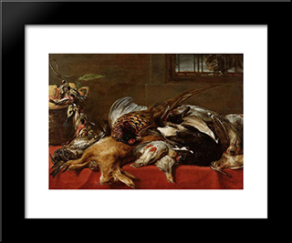 Hunting Still Life: Modern Black Framed Art Print by Frans Snyders