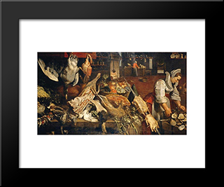 Kitchen Still Life: Modern Black Framed Art Print by Frans Snyders